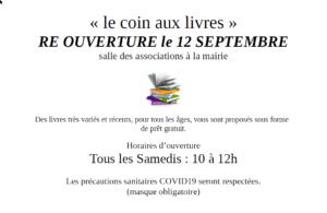 Le coin aux livres fait sa rentrée le 12 septembre.